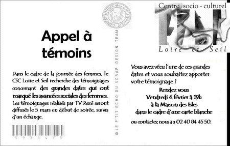 CSC Loire et seil, journée des femmes, trentemoult