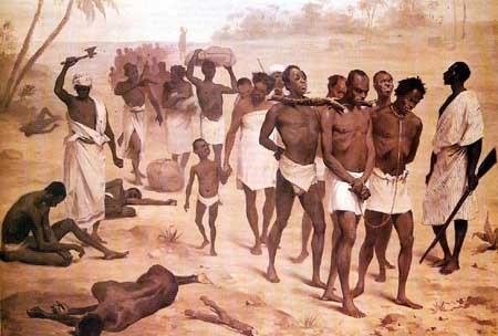 On peut voir sur ce tableau des nègres capturés et attachés par des négociants noirs armés.  Source : Archives Municipales de Bordeaux