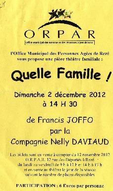 """Théâtre """"quelle famille"""" avec la compagnie Nelly Daviaud"""