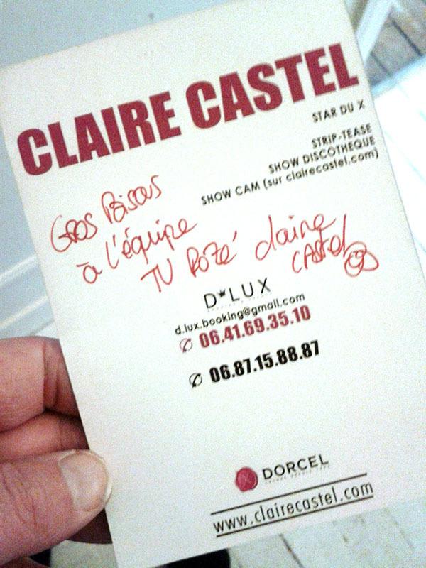 Claire Castel, Star du X, soutient TVREZE