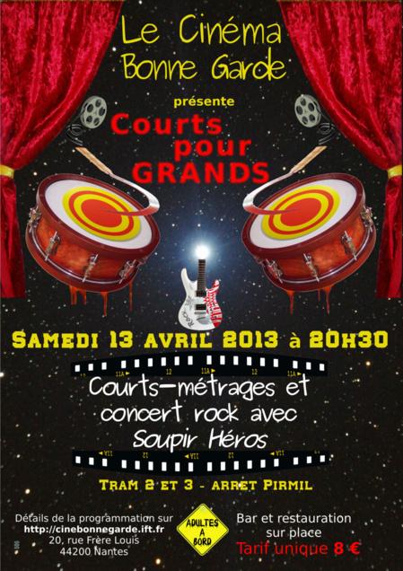 Soirée Courts pour Grands au Ciné Bonnegarde - sam. 13 avril à 20h30