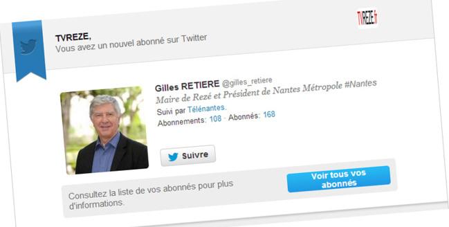 Un nouveau Follower de TVREZE sur Twitter !