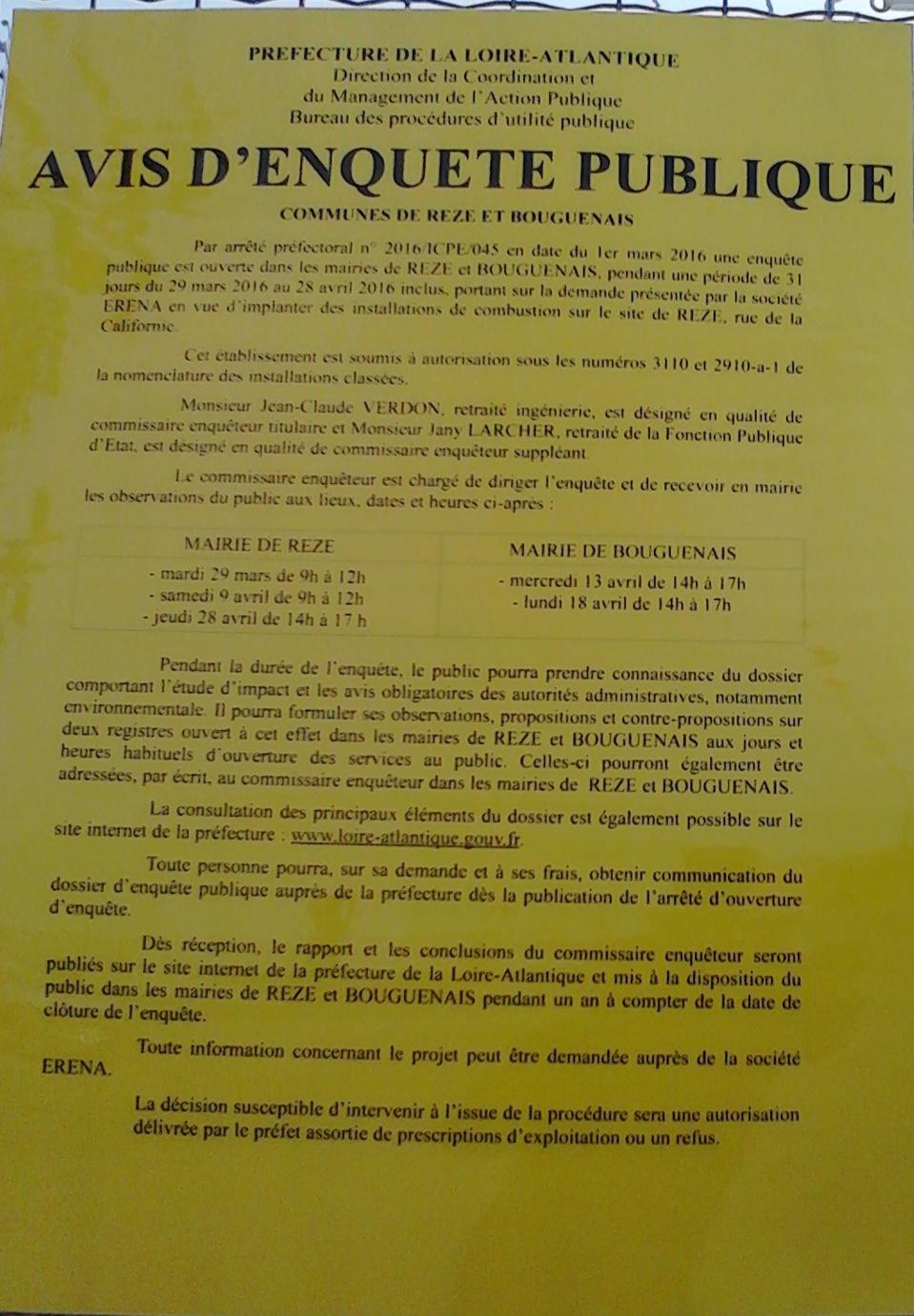 Avis d'enquête publique su 29 mars au 28 avril 2016 REZE et BOUGUENAIS.